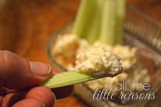 onion dip on celery